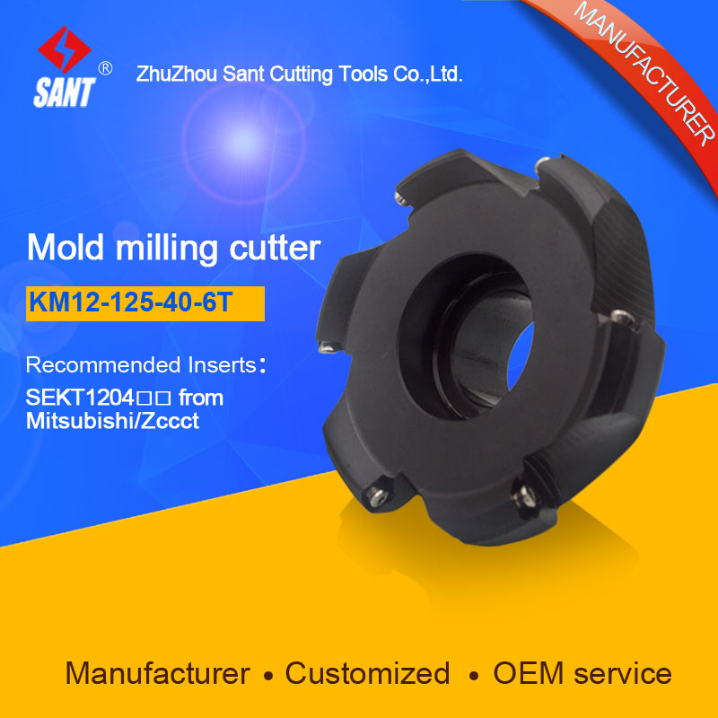KM12-125-40-6T,CNC milling machine tools indexable milling cutter face milling tools with inserts SEKT1204MG