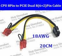 Toptan CPU 8pin 2 * 4pin Kadın Çift 8pin (6 + 2) pin Erkek PCI-E Ekran Kartı Güç Kaynağı Kablosu 8pin + 8 (6 + 2) pin + 8 (6 + 2) 20 cm
