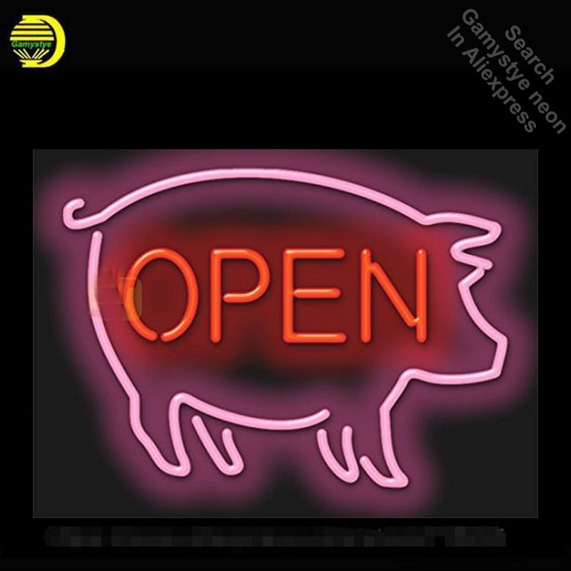 Neon Sign for Pig Open neon bulb Sign OAKLAND Neon lights Sign glass Tube Iconic Custom Advertise Night Light work Shop Display