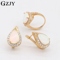 GZJY Fantastic Charm White Fire Opal Champagne Gold Color Ring Earrings Jewelry Set For Women Wedding Anniversary Gift