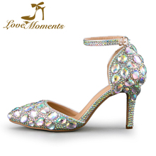 Love Moments sandals shoes woman AB Color Crystal wedding shoes Bride high heels sandals for party ladies women shoes