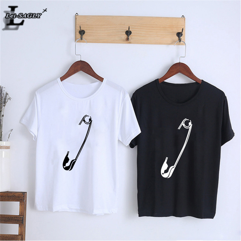 Lei SAGLY Safety Pin Print Female T Shirt Women Fashion Summer Short Sleeve Casual O-neck Tshirts Plus Size Homme Streetwear Tee
