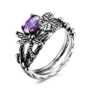 Кольцо в виде листьев лотоса Dragonfly, Женское кольцо серебряного цвета с синим цирконием AAA, размер 6-10