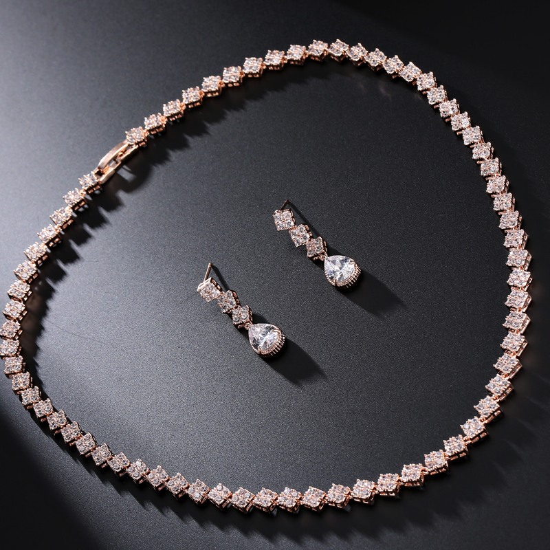 UILZ Rose Gold Color Jewelry Set with Shiny Square Cubic Zircon Fashion Jewelry For Women Girl