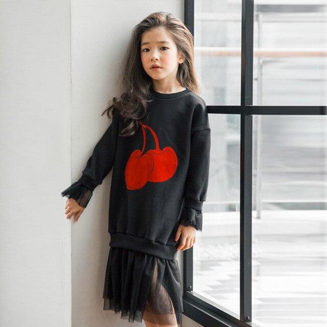Платья для девочек подростков От 5 до 15 лет Осень Зима Большой свитер платье Дети 2017 с длинными рукавами