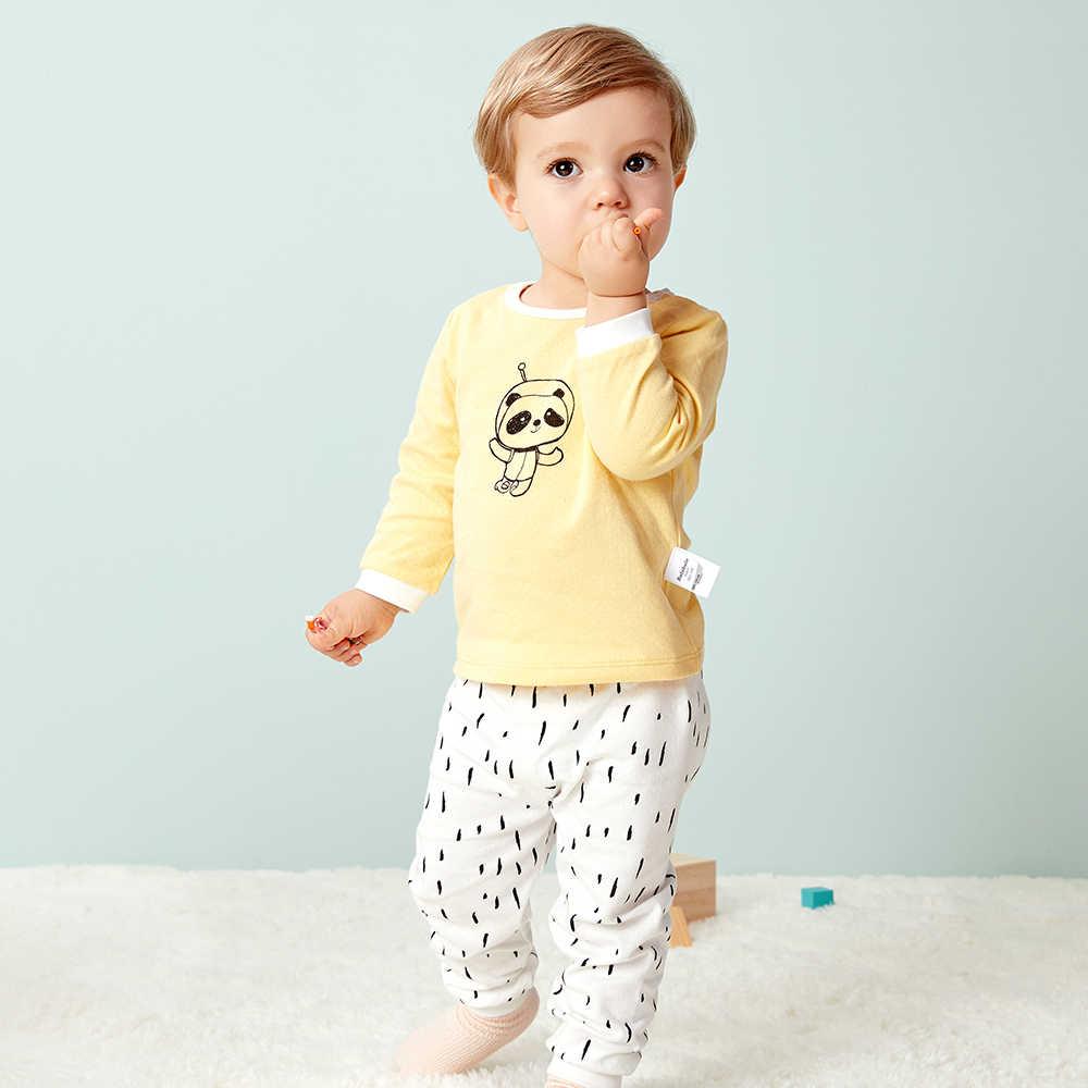Balabala Automne Nouveau bébé fille vêtements combinaison à manches longues en pur coton t-shirts hauts + pantalon 2 pièces nouveau-né bébé garçons vêtements ensemble