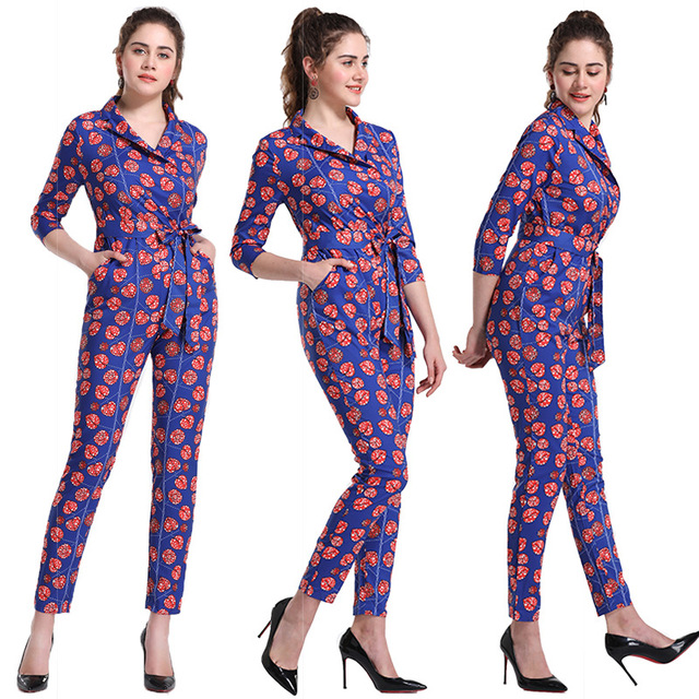 b603b600a86 New Summer Womens Slim Rompers Jumpsuit Women African Print Clothing Casual  Sexy Fashion Party Small Leg pants milk silk