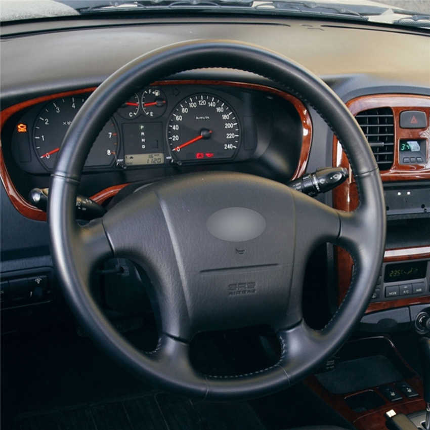 DIY Zwart Micro Fiber Lederen Auto Stuurhoes voor Hyundai Sonata 1999 2000 2001 2002 2003 2004 2005 Accessoires