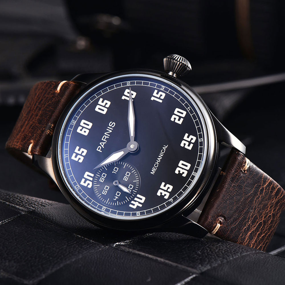 44mm Parnis Black Dial Luminous Hands PVD case Leather strap Luxury Brand 6497 Hands Winding Men's Watch 44mm parnis blue dial luxury brand silver hands rose golden plated case luminous marks leather 6497 hands winding men s watch