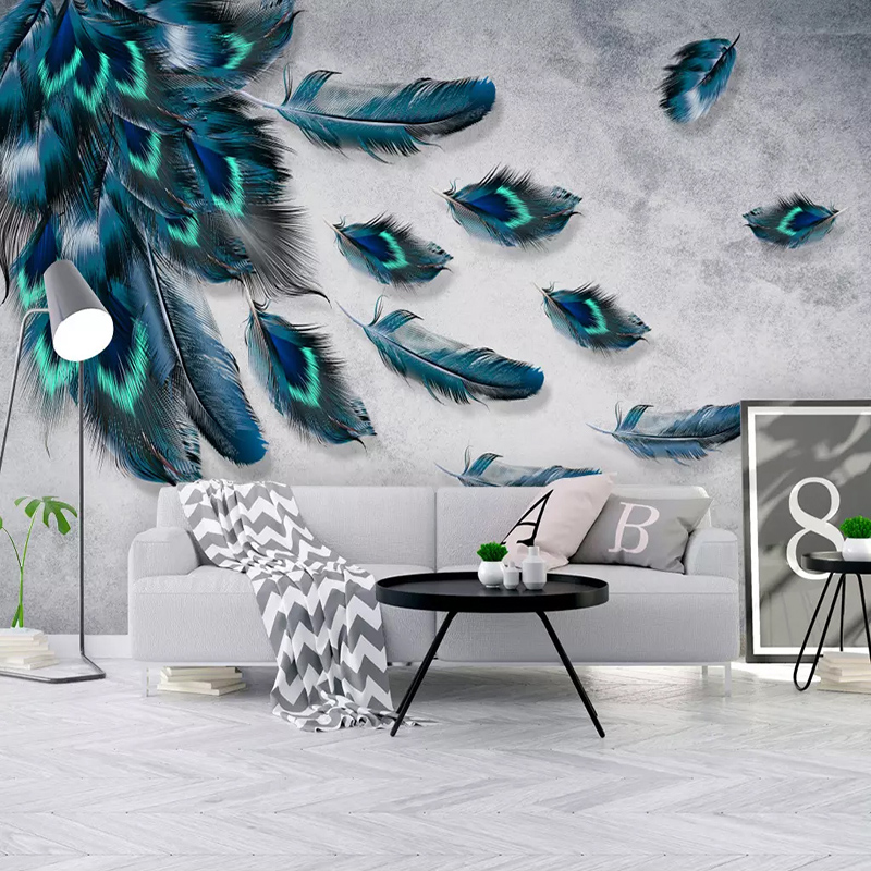 Photo Wallpaper Modern Fashionable Color Hand Painted Feather Murals Living Room TV Sofa Bedroom Study Home Decor Wall Paper 3 D