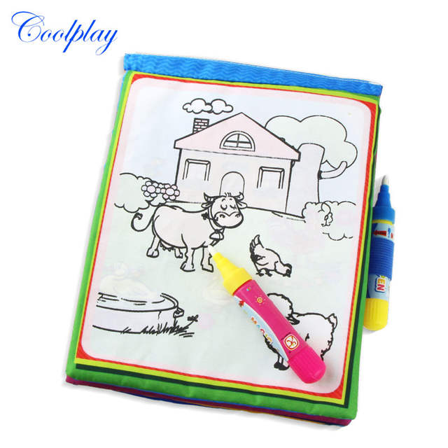 Online Shop Animals Water Drawing Book & 2 Magic Pen Water Coloring ...