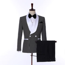 The latest fashion polka dot double-breasted men's slim fit men's dress groom custom 2 piece jacket pants(China)