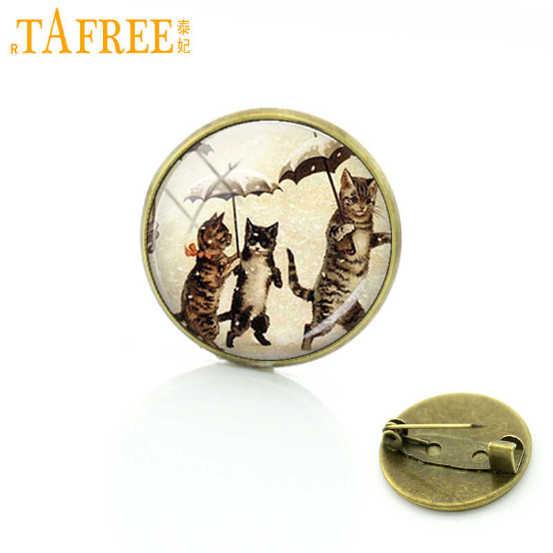 TAFREE Beautiful cartoon cat brooch jewelry fashion simple design supernatural steampunk cat animal brooches pins gift C722