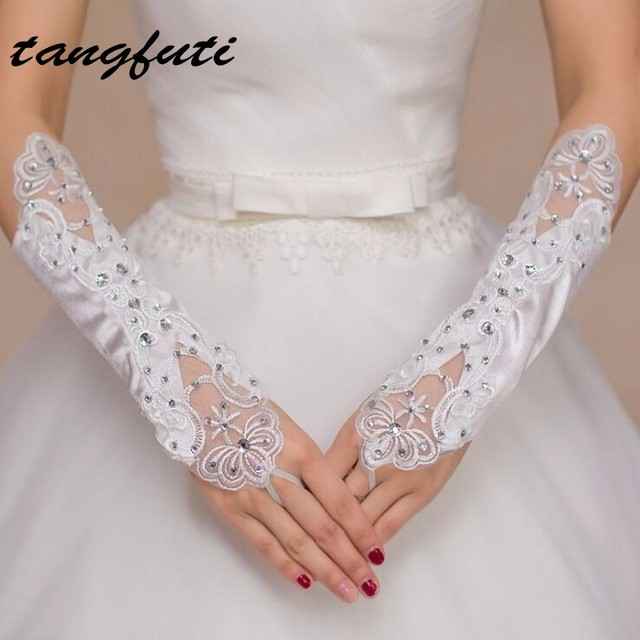 White Ivory Long Satin Fingerless Wedding Gloves Bride Bridal Accessories For 2017