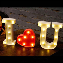 26 Letters Fun White Plastic LED Night Light Marquee Sign Alphabet Lights Home Club Outdoor Indoor Wall Decoration Night Lamp lumiparty led reindeer night light cordless night table lamp christmas wall marquee sign with 8 led lights for christmas