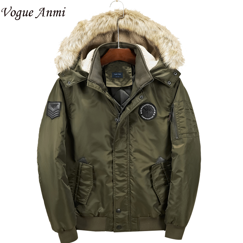Vogue Anmi Brand Coat Winter Jacket Men Fur Hooded Army Warm Men Parka Thick gl brand vogue 3colors jf0017