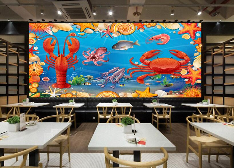 beibehang Waterproof Silk Cloth Wallpaper Lobster Crab Seafood