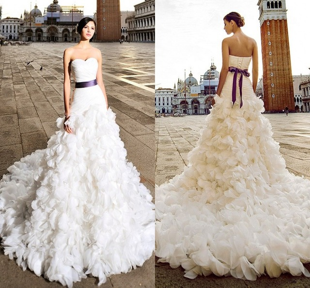 2017 New Puffy Long Train Bubble Hem Backless Graceful Bridal Gowns Mermaid Wedding Dresses With Purple