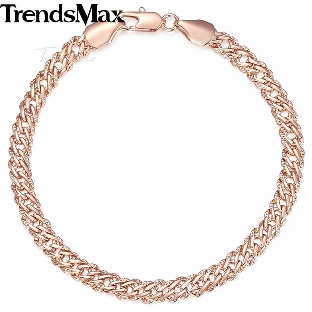 Trendsmax 5 мм Браслеты для Для женщин Для мужчин 585 розовое золото Венецианский Curb Link Bracelet дружбы Модные украшения 18 см 20 см 23 см KGB428