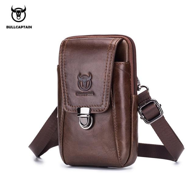 87f75798d3 BULLCAPTAIN Genuine Leather Men s Waist Packs Phone Pouch Bags Waist Bag  Male Small Shoulder Belt Bag small Waist Packs