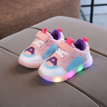 Leather LED lighted children  sneakers