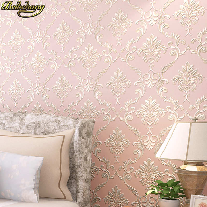Beibehang Papel De Parede. Non-woven Wallpaper Gold Background Wall Wallpaper Damask Classic Wall Papers Home Decor Bedroom