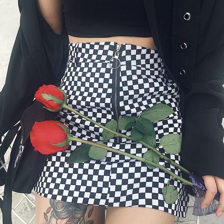 HTB1V.abRpXXXXXKXpXXq6xXFXXXw - FREE SHIPPING High Waist Mini Skirts Black White Checkerboard Plaid JKP240