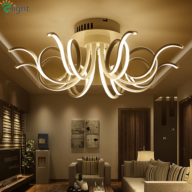 Modern Aluminum Bedroom Led Chandeliers Lighting Re Acrylic Living Room Dimmable Ceiling Chandelier Lights