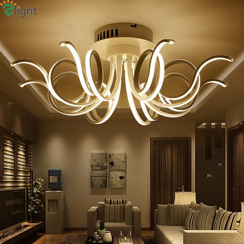 Modern Aluminum Bedroom Led Chandeliers Lighting Lustre Acrylic Living Room Room Dimmable Led Ceiling Chandelier Lights Fixtures