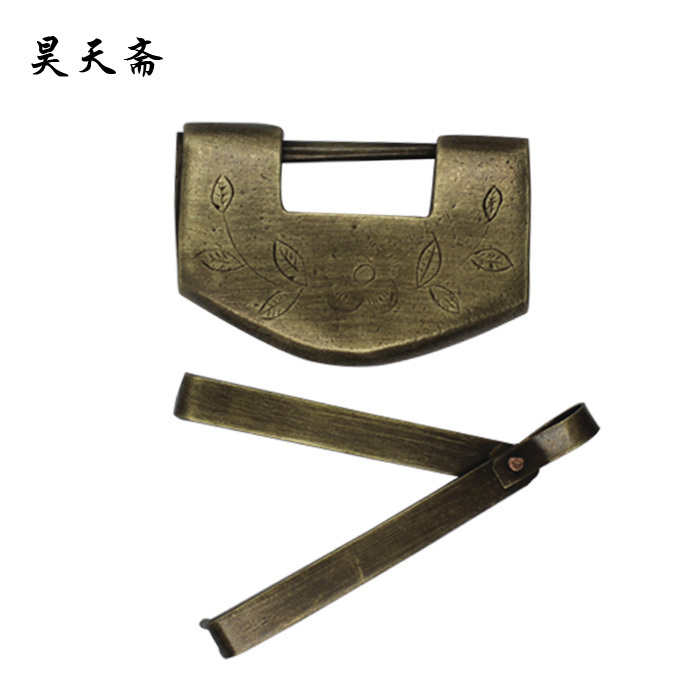 ФОТО [Haotian vegetarian] antique copper lock / small long lock / Antique lock / copper ingot lock / HTH-065
