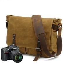 Canvas Vintage SLR Camera Bag Waterproof soft sling Shoulder Strap Case Casual Messenger Pack for Canon Sony