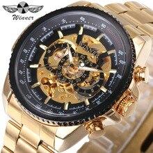 WINNER Men Automatic Mechanical Watch Top Brand Luxury Golden Skeleton Dial Metal Strap Gear Case 3D Design Business Wristwatch