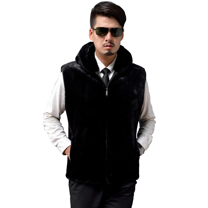 2018 Leather Jacket Men Hooded Leather Jacket Sleeveless Male Thick Mink Faux Fur Long Leather Coat For Men Plus Size 3XL 50