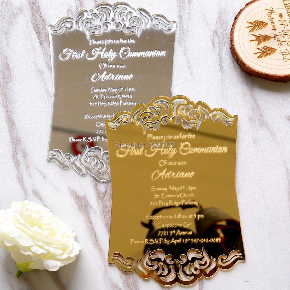 50 pcs Laser cut Personalised rose mirror silver acrylic invitation Luxury Unique Day Invitations Wedding Invitations