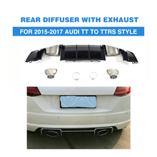 PP Rear bumper Diffuser Lip With Exhaust Tips For Audi TT Standard MK3 Coupe 2 Door Only 2015-2017 TTRS style Car Accessories