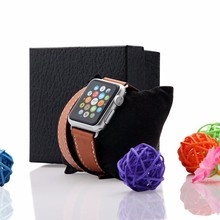 38mm 42mm smart watch band for apple watch Genuine Leather Replacement With Adapter Metal Clasp –Double tour black 38mm42mm