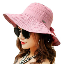 2018 Fashion Summer Sun Hats for Women Female Outdoor UV Protect Hat Large Sunscreen Beach Hat Leisure Folding Sun hat For Girl