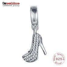 ba5d7a9e88e LZESHINE 100% 925 Sterling Silver Cubic Zircon High heels Shoe Beads fit  Charms Bracelets Fine Jewelry Christmas Gift PSMB0291