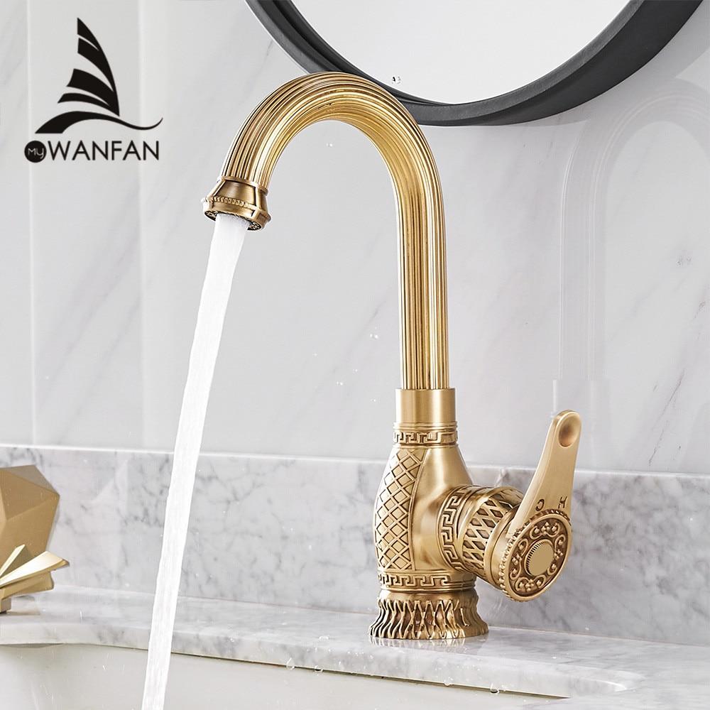 Basin Faucets Retro Bathroom Sink Mixer Deck Mounted Single Handle Single Hole Bathroom Faucet Brass Hot