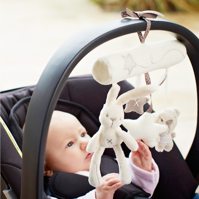 Baby Music Hanging Bed Safety Seat Plush font b Toy b font Hand Bell Multifunctional Rabbit