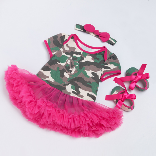 Camouflage Dress Infant Camo Baby Rose Ruffle Dresses Cotton ...