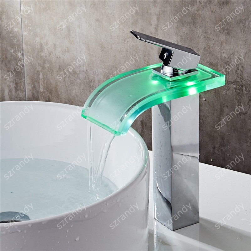 No Need Battery Water Powered Color Changing Brass Single Handle Round Waterfall Led Faucet Basin Mixer Bathroom Taps стакан высокий опытный стекольный завод ode персик 230 мл