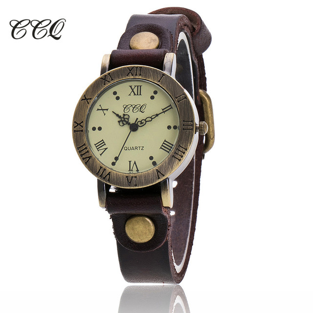 CCQ Brand Vintage Cow Leather Wrist Watch Fashion Women Bracelet Watch Casual Qu