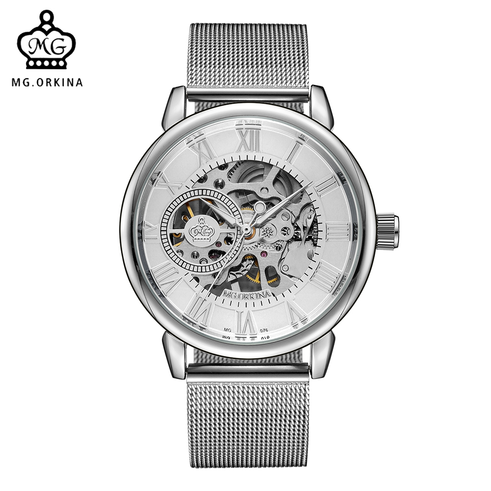 ORKINA Male Wristwatch Skeleton Dial Mechanical Hand-wind Clock Men's Wrist Watches Stainless Steel Mesh Band Herren Armbanduhr