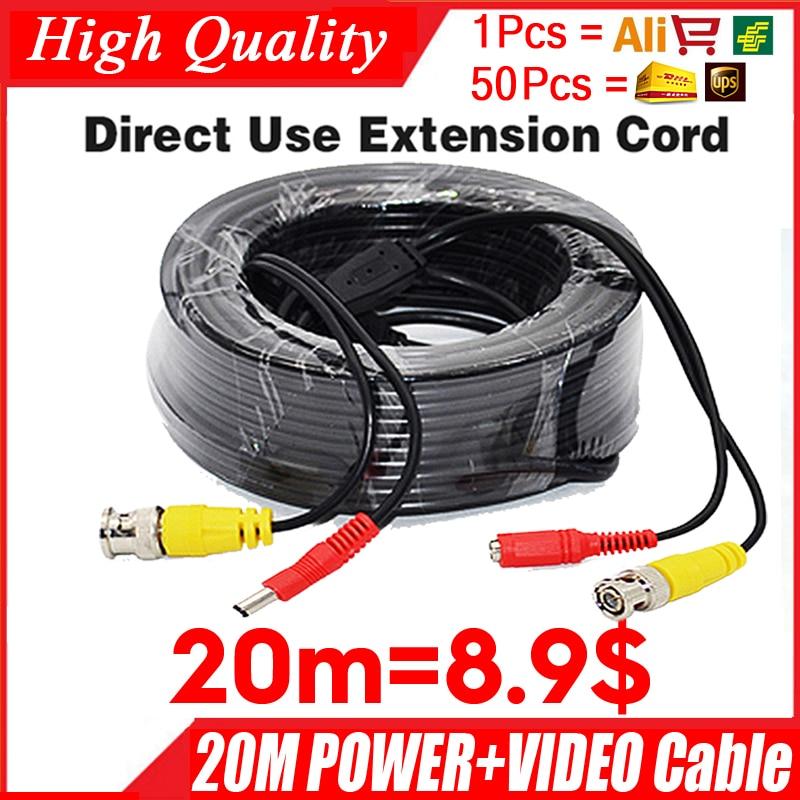 Atacado 20 m Vídeo + cabo de alimentação Câmera de cobre HD estender Fios para CCTV DVR AHD Extension extension with BNC DC 2in1 two in Cable