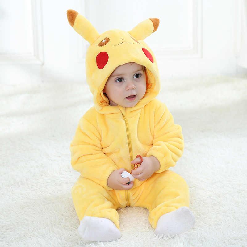 Pijamas Pikachu para niños pequeños bebés niñas ropa de dormir Kigurumi niños Pokemen Onesies recién nacido invierno traje de franela Anime