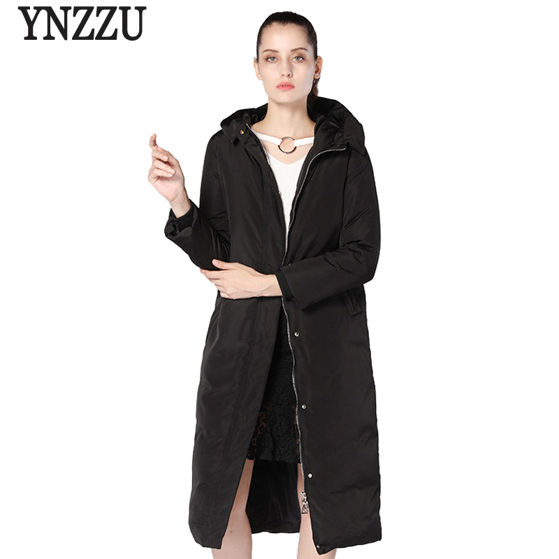 Brand Casual Women's   Down   Jacket 2018 Winter Long Style 90% White Duck   Down     Coat   Women Warm Hooded Thicken Female Outwears AO745