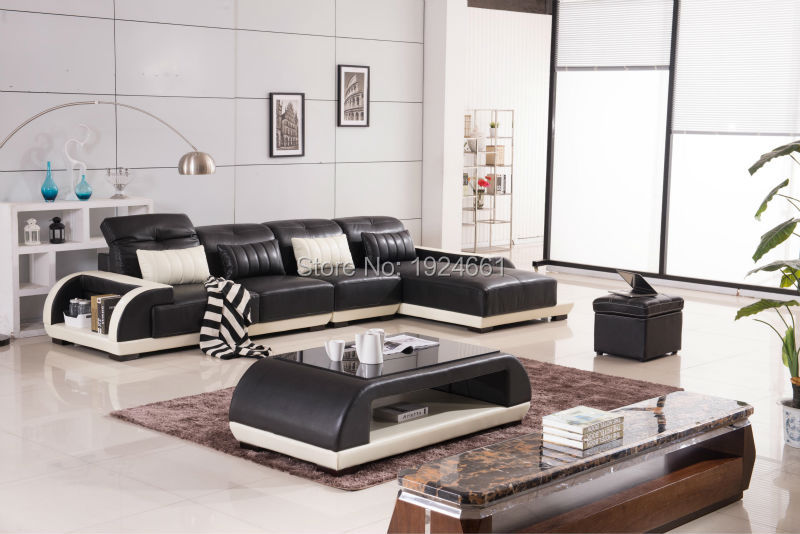 2016 Bean Bag Chair And Led Light Leather Living Room Furniture U Shaped Sectional Sofa Set