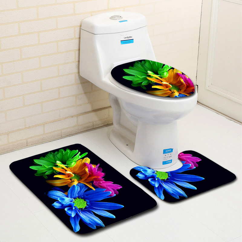 Flowers Black Carpet Bathroom Toilet Mat Accessories Bath Mat Roses Anti Slip Lid Cover Beauty 3pcs Rug Sets Home Decor