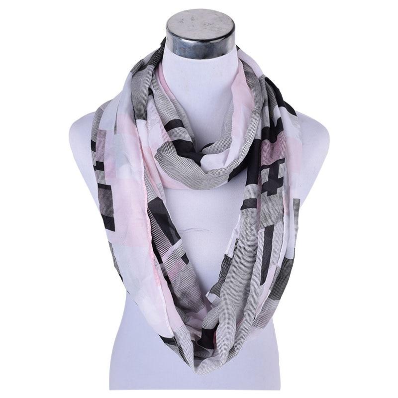 Chiffon Infinity Scarf Brand Woman Chiffon Circle scarves Large Lady Girl Plaid Print silky Endless Stole Wraps P6A18878